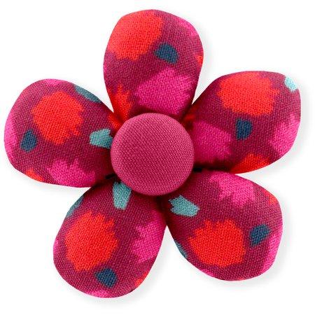 Petite barrette mini-fleur pompons cerise