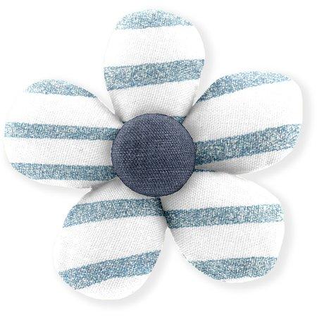 Pasador mini flor brillo azul gris a rayas