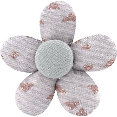 Petite barrette mini-fleur triangle cuivré gris