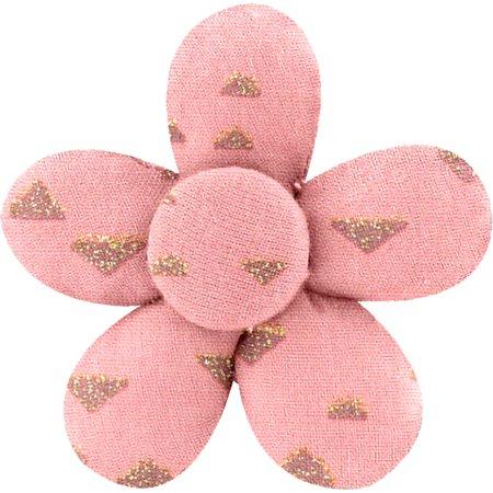 Petite barrette mini-fleur triangle or poudré