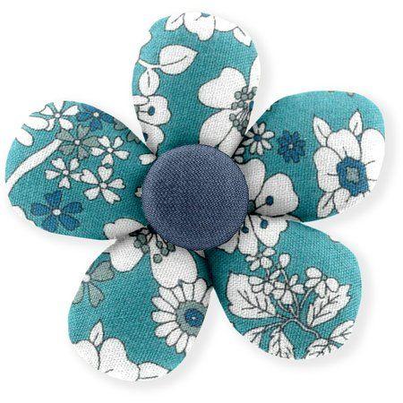 Petite barrette mini-fleur violette céladon