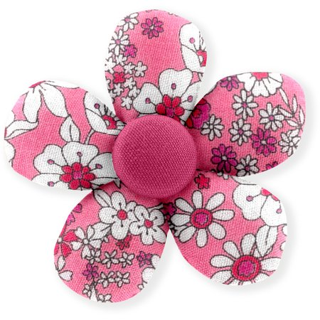 Petite barrette mini-fleur violette rose