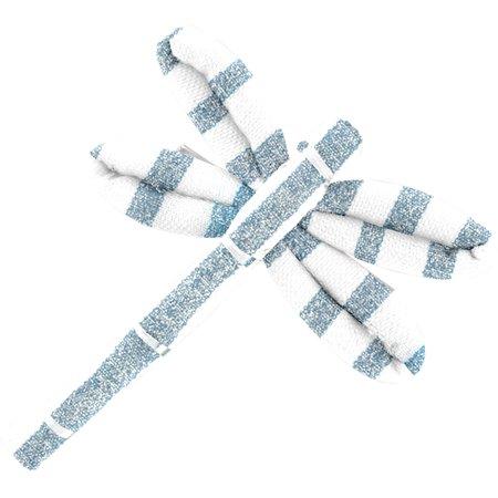 Dragonfly hair slide striped blue gray glitter