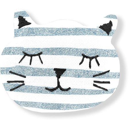 Meow hair slide striped blue gray glitter