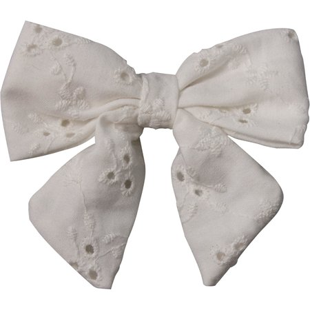 Barrette noeud papillon broderie anglaise
