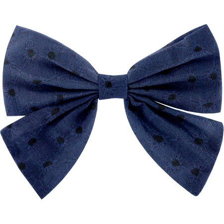 Barrette noeud papillon broderie anglaise marine