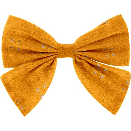 Bow tie hair slide gaze dentelle ocre