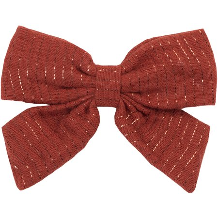 Bow tie hair slide lurex terracotta gauze
