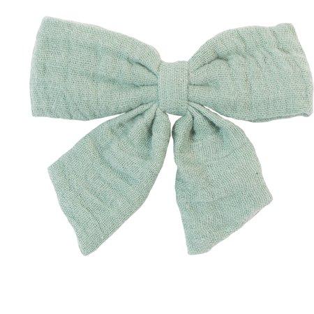 Bow tie hair slide sage green gauze