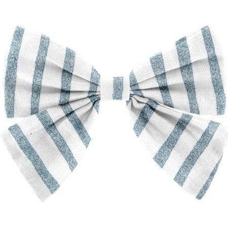 Pasador lazo mariposa brillo azul gris a rayas