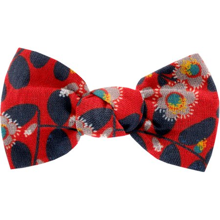 Small bow hair slide vermilion foliage