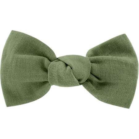 Small bow hair slide sage green gauze