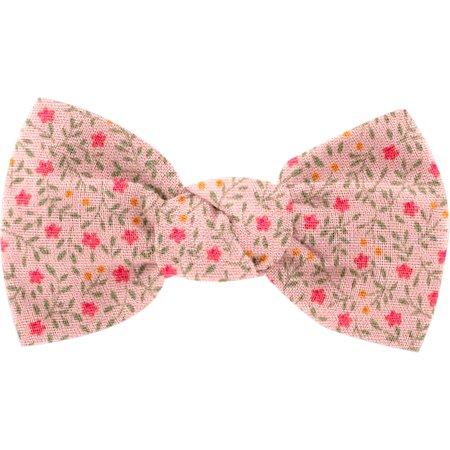 Small bow hair slide mini pink flower