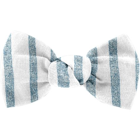 Small bow hair slide striped blue gray glitter