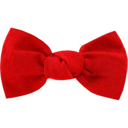 Small bow hair slide tangerine red