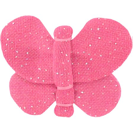 Barrette petit papillon rose pailleté
