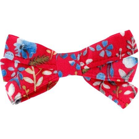 Ribbon bow hair slide cherry cornflower
