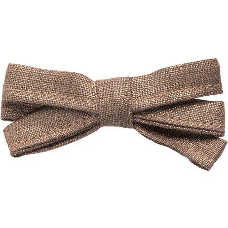 Ribbon bow hair slide copper linen