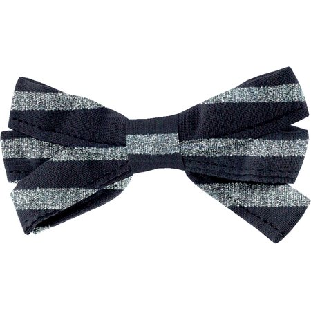 Ribbon bow hair slide striped silver dark blue
