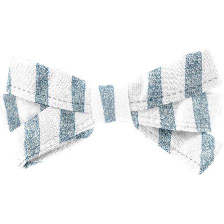 Barrette noeud ruban rayé bleu blanc