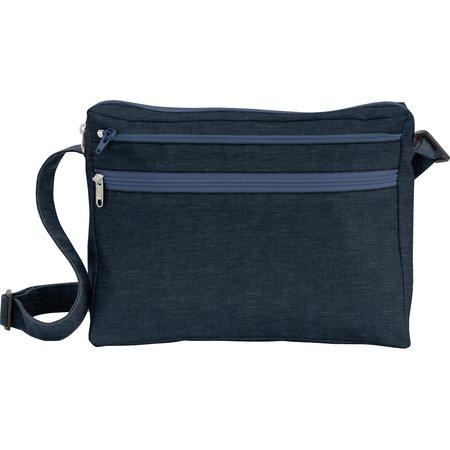 Base of satchel bag light denim