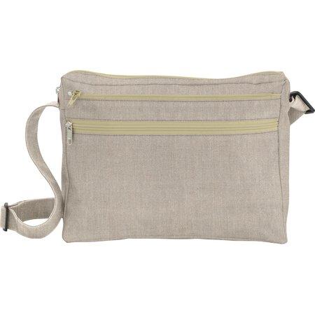 Base of satchel bag silver linen