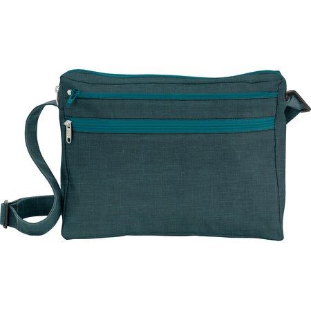 Base sac besace carrée  lin bleu canard