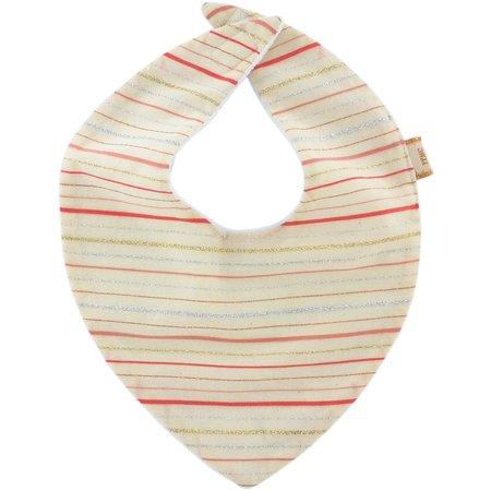 bandana bib silver pink striped