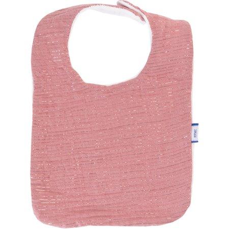 Bib - Baby size dusty pink lurex gauze