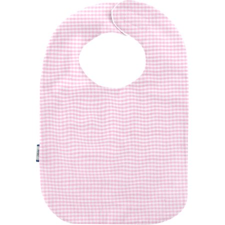 Babero para bebé  cuadros vichy rosa