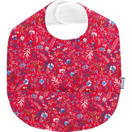 Coated fabric bib cherry cornflower