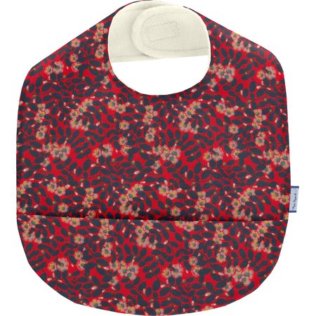 Coated fabric bib vermilion foliage