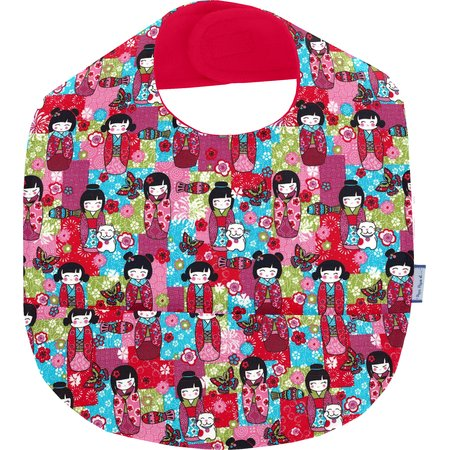 Coated fabric bib kokeshis