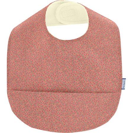 Coated fabric bib mini pink flower