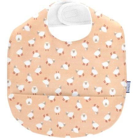 Coated fabric bib pink sheep