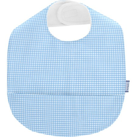Coated fabric bib sky blue gingham