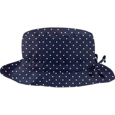 Chapeau pluie ajustable T2  pois marine