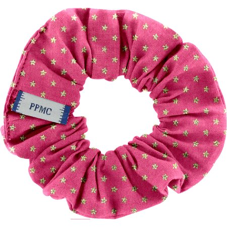 Small scrunchie fuchsia gold star