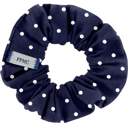 Small scrunchie navy blue spots