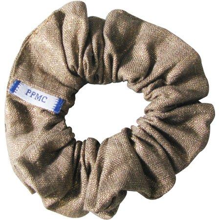 Small scrunchie gold linen