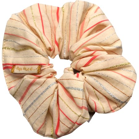 Scrunchie silver pink striped