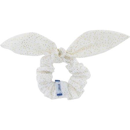 Chouchou nœud   blanc pailleté