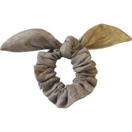Bunny ear Scrunchie gold linen