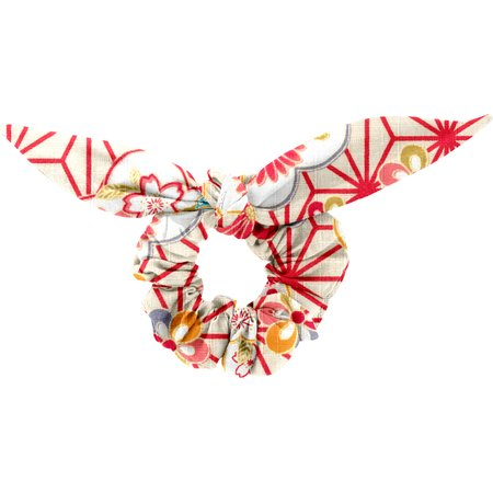 Chouchou nœud   origamis fleuris