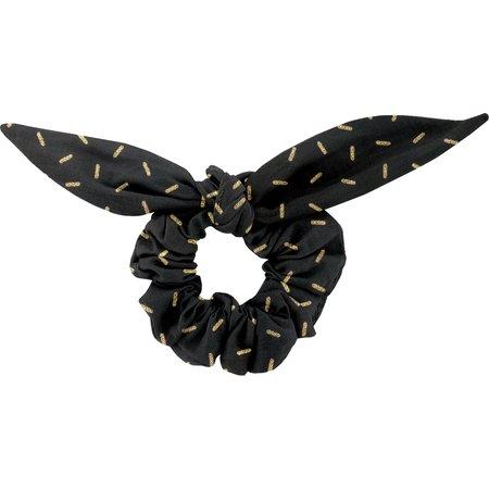 Chouchou nœud   paille dorée noir