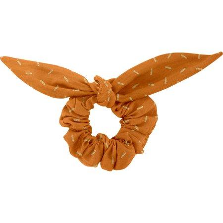 Chouchou nœud  paille dorée caramel