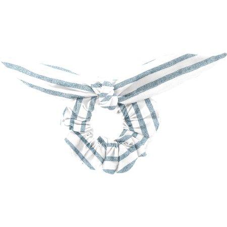 Chouchou nœud  rayé bleu blanc