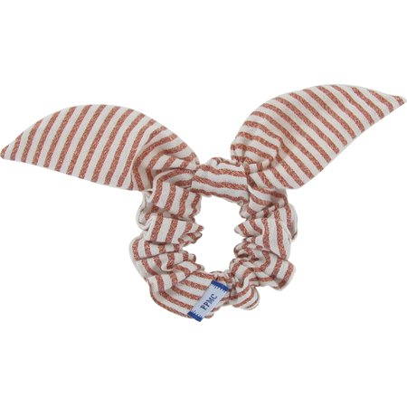 Chouchou nœud  rayures cuivrées