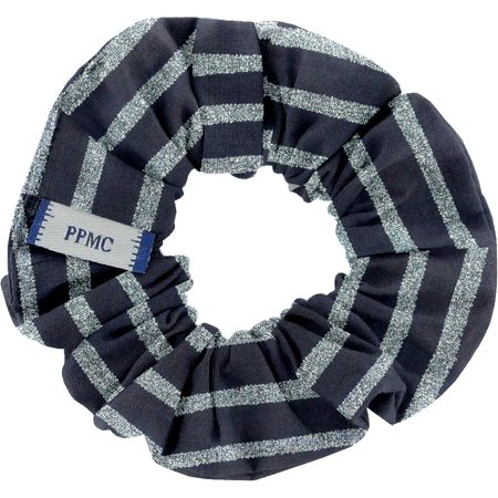 Small scrunchie striped silver dark blue