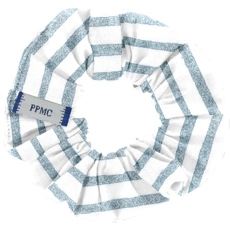 Small scrunchie striped blue gray glitter
